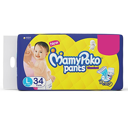 MamyPoko Pants Standard Pant Style Large Size Diapers (34 Count)