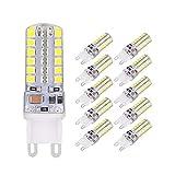Ampoule G9 LED, ELINKUME 5W Blanc Froid 48 SMD 2835 LED Lampe 6000K Éclairage Intérieur G9 Pied en Céramique, NO Scintillement, Equivalente 40W Halogène Lampe AC220-240V (Lot de 10)