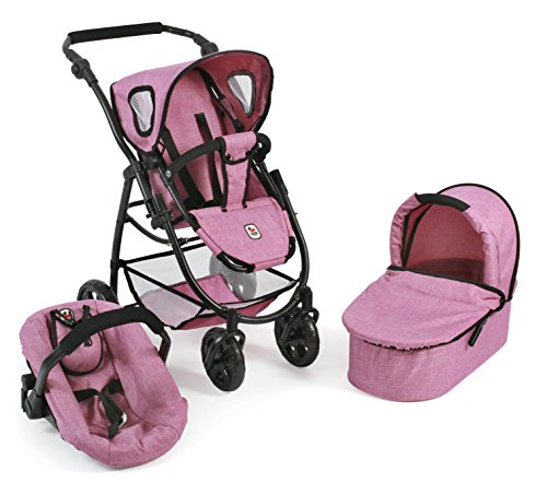 Bayer Chic 2000 637 70 - Puppenwagen 3-in-1 Emotion All in, Jeans Rosa