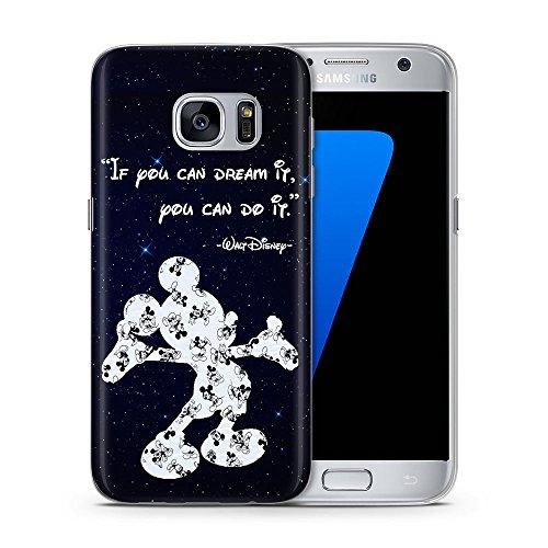 Disney Zitat Telefon Hülle/Case für Samsung Galaxy S7 (G930) mit Displayschutzfolie / Silikon Weiches Gel/TPU / iCHOOSE / Mickey - (Disney Galaxy)