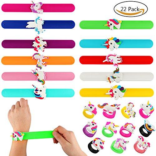 Tacobear 22 pc slap bracciali anelli unicorno con arcobaleno giocattoli in gomma di unicorno colorati articoli per feste di compleanno bomboniere braccialetti slap per adulti bambini ragazzi ragazze