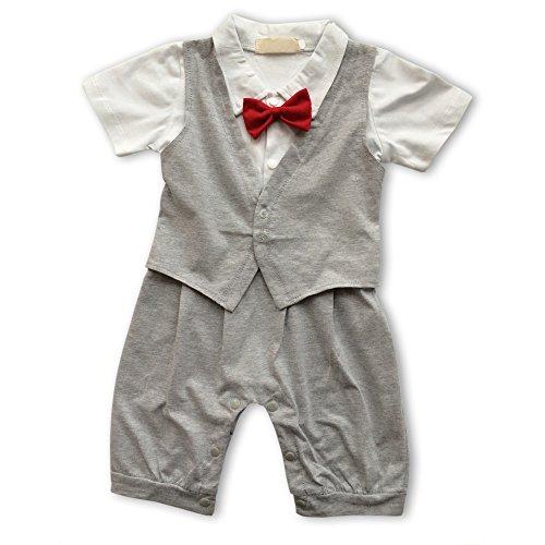 Kleinkind Kostüm Nilpferd - Lexikind Baby Strampler Smoking für Jungen - Anzug mit Fliege (90, grau)