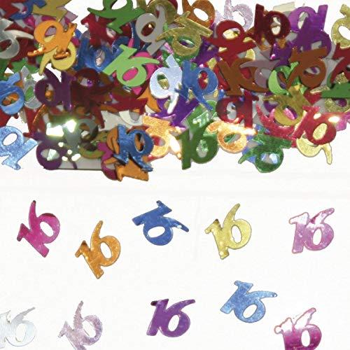 Folat 05310 - Tischkonfetti Zahl 16 - bunt - 1 x 14 gr. -