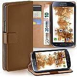 moex Samsung Galaxy S4 | Hülle Braun mit Karten-Fach 360° Book Klapp-Hülle Handytasche Kunst-Leder Handyhülle für Samsung Galaxy S4 / S IV Case Flip Cover Schutzhülle Tasche