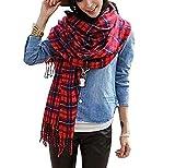 hippolo Damen-Damen Vintage elegante Packungen Schal Schals Tartan Plaid rot