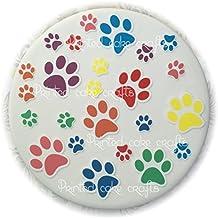 24 obleas precortadas para tartas o cupcakes con diseño de huellas de la Patrulla Canina, varios colores, fáciles de despegar y colocar