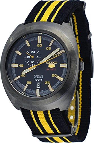 Seiko Herren-Armbanduhr 45mm Armband Nylon Zwei Ton Automatik Analog SSA289J1 - Seiko Herren Militär Uhr