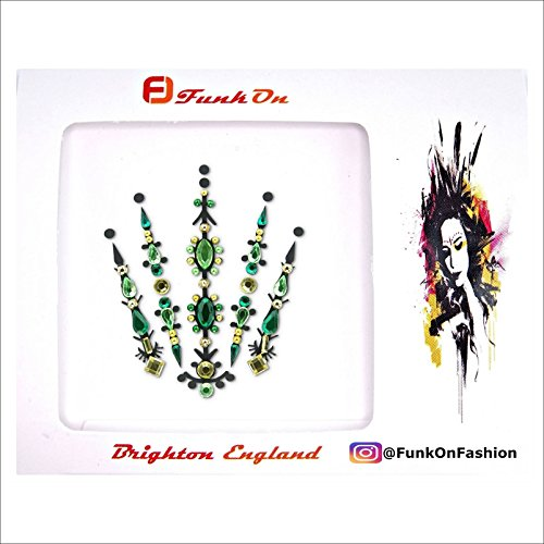 GREEN & GOLD FACE GEM- FACE JEWELS FOR FESTIVALS -BODY JEWEL TATTOO- ALL IN ONE STICK ON BINDI- RHINESTONE JEWELLERY HEADPIECE - FESTIVAL MAKEUP-FAIRY QUEEN BC10grg