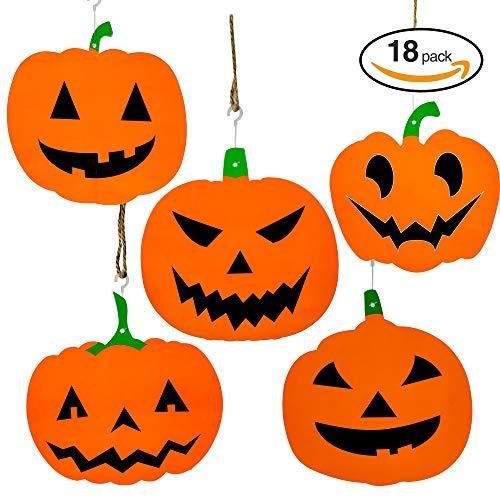 THE TWIDDLERS 18 Kürbisse zum Aufhängen - Perfekt deko für Halloween Saisonale Dekoration und Feiern - Festliche Party Dekoration für Swirl Aufhänger von der Decke