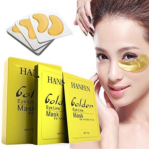 10 Paar Kollagen Golden Eye pad Augenpads,Hochwirksame Augen-Gel-Pads gegen Falten, Augenringe und Tränensäcke,Wimpern Extensions Eye Patch aus Vlies, Fältchen für Regeneration der Haut