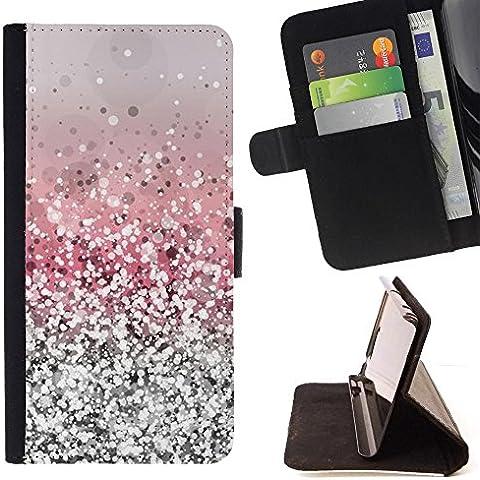 For Motorola Moto E ( 1st Generation ) Case , Glitter Argento Rosa lucido neve Sparkly Diamante - Portafoglio in pelle della Carta di Credito fessure PU Holster Cover in pelle case
