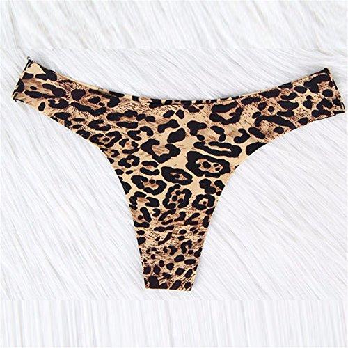 Slip Korn (Lady Sexy Slip aus reiner Baumwolle ohne Narbe und niedrige taille Slip, Leopard Korn Gelb, XXXL)