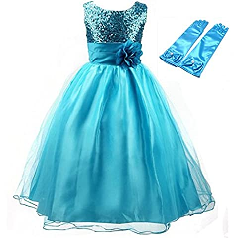 GenialES® Vestido con Guantes Largos de Fiesta para Niñas Disfraz de Princesa Linda Dulce Bonito Cute Wedding Party Dress a Partir de 4 a 15