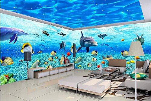 Poowef 3d wallpaper sfondo magico mondo sottomarino tema murali di grandi dimensioni senza giunture carta da parati a soffitto acqua dolphin hotel ripple bar wallpaper