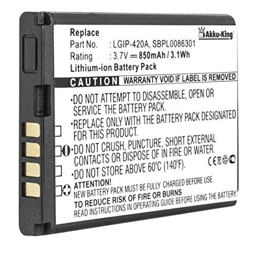 Akku-King Akku kompatibel mit LG LGIP-420A, SBPL0086301 - Li-Ion 850mAh - für AX275, Wave, AX380, AX271, UX380, UX300, U370, Disney Lg Ax275 Ax380 Wave