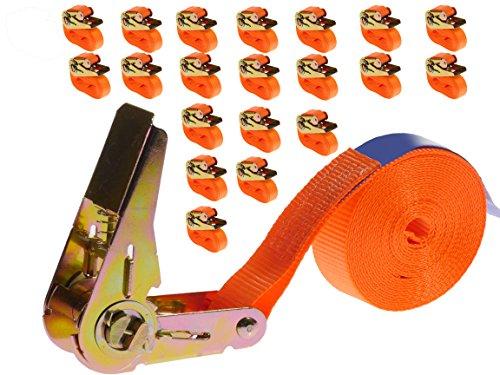 Preisvergleich Produktbild 20 Stück 800kg 4m Spanngurte mit Ratsche Zurrgurte einteilig 1 teilig Ratschengurte 25mm orange 800 daN 0,8t