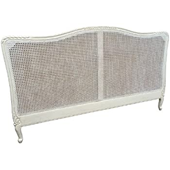 A Beautiful French Style Shabby Chic Cane King Size Headboard in White  Distressed Finish. A Beautiful French Style Shabby Chic Cane King Size Headboard in