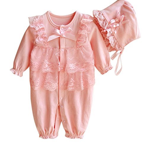 Bekleidung Longra Neugeborenes Baby jungen Mädchen Mütze Hut + Spitze Strampler Overall Bodysuit Kleidung Set Outfit(0 -9 Monate) (50CM 1-2Monate, Pink) (Set Kleid Gestreiftes)