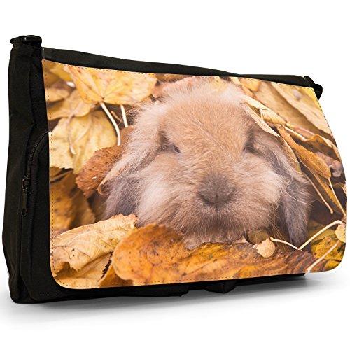 Fancy A Bag Borsa Messenger nero Cute Rabbit Bunny Cute Furry Cuddly Bunny Rabbit In Leaves