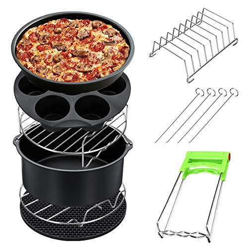 DADEQISH 8 Stücke 8 Zoll Luft Friteuse Zubehör Set Chips Gericht Backen Pizza Pan Kitchen Toolss 5,2~5,8 QT Werkzeugzubehör Brot Pan Set