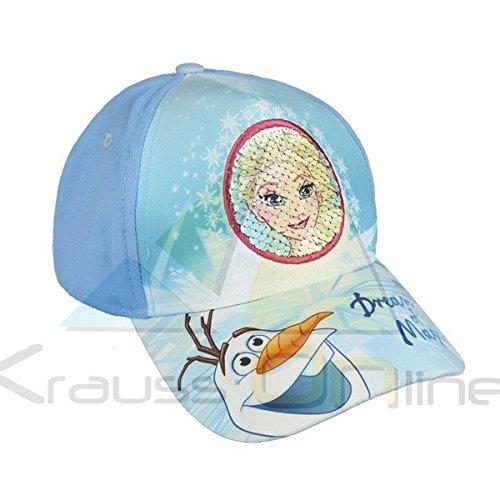 Disney frozen 2200002910 cappello visiera, paillettes, cotone, bambina, elsa, olaf