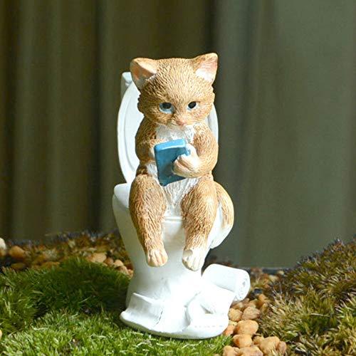 IFEVER Miniatur-Figur Feengarten, kleine Harzkatze mit Toilette, Skulptur, Mikro-Landschaft, Heimdekoration, Auto-Ornament, handbemalt