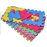 HOMCOM Puzzlematte Spielmatte Spielteppich Puzzle Alphabet Fraktalbild mit Zahlen und Buchstaben Rutschfest Harmlos für Babies und Kinder aus EVA-Schaumstoff Bunt 31 x 31 x 1 cm 36-Teile