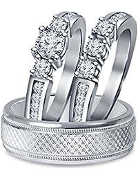 Silvernshine 14k White Gold Fn 1 1/4 Ct Diamond 3 Piece Three Stone Trio Engagement Ring Set