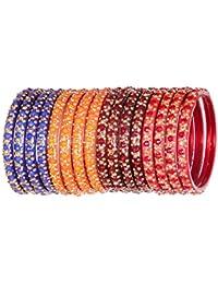 Top Quality Handmade Designer Multicolor Glass Bangle Set Studded With Stone(Zircon) For Women & Girls