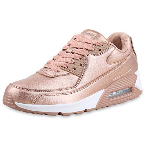 SCARPE VITA Damen Sportschuhe Metallic Laufschuhe Schnürer Fitness Sneaker 161552 Rose Gold Metallic 41