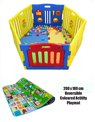 Plastic Baby Playpen 6-Panel Play Yard Perfect for Babies and Toddlers w/ Soft Foam Non-Slip Revsible Playmat / International Delivery