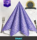 GRUBly - Napkins PURPLE Ornament PREMIUM AIRLAID material, textile quality | 50 pieces | 40 x 40cm | 1/4 fold | Perfect for very special occasions - wedding, birthday, party, company party's, baptism, communion, christening, as simple table decoration