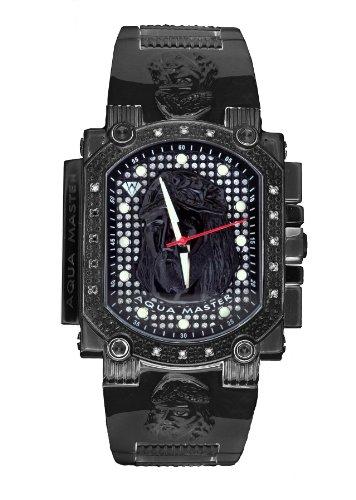 Aqua Master hombres del dial de Jesús especial black-pvd acero inoxidable juego de reloj, con 16diamantes w # 323j