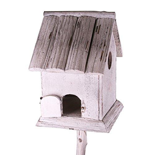 Holz Vogelhaus mit Pfahl im Shabby Look weiß gebürstet - 2