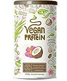 Vegan Protein | KOKOS | Pflanzliches Proteinpulver aus gesprossten Reis, Erbsen, Chia-Samen, Leinsamen, Amaranth, Sonnenblumen- und Kürbiskernen | Mit Verdauungsenzymen | 600 Gramm Pulver