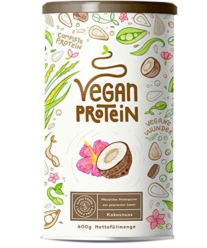 Mandel -, Sonnenblumen-samen (Vegan Protein | KOKOS | Pflanzliches Proteinpulver aus gesprossten Reis, Erbsen, Chia-Samen, Leinsamen, Amaranth, Sonnenblumen- und Kürbiskernen | Mit Verdauungsenzymen | 600 Gramm Pulver)