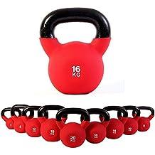 Kettlebell hierro fundido con revestimiento de neopreno 4 kg, 6 kg, 8 kg, 10 kg, 12 kg, 14 kg, 16 kg, 18 kg, 20 kg - Ideal para la práctica del entrenamiento funcional y del potenciamiento muscular tanto en tu propia casa como en el gimnasio - Pesas rusas (16 kg)