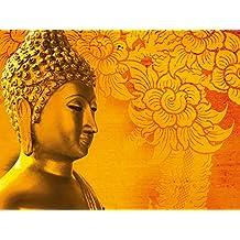 Artland Wandbilder selbstklebend aus Vliesstoff oder Vinyl-Folie Pitsanu Kraichana Buddha Goldstatue vor goldenem, gemustertem Hintergrund in Thailand. Mythologie Religion Buddhismus Foto Rot A7RK