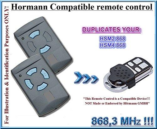 Hörmann HSM2 868 / Hörmann HSM4 868 Compatible Télécommande, 4 canaux 868,3Mhz fixed code CLONER. Remplacement de haute qualité pour LE MEILLEUR PRIX!!! (PAS COMPATIBLE avec BS BiSecur Télécommandes)