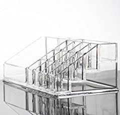 anne -kee Acrylic Makeup Mascara Liner Brush Lipstick Cosmetic Case Holder, Large (Clear, al471)