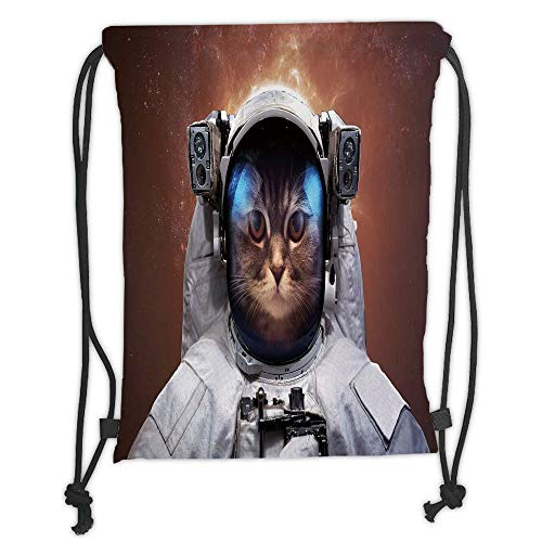 LULUZXOA Gym Bag Printed Drawstring Sack Backpacks Bags,Space Cat,Cat in Space Astronaut Cosmonaut Suit with Milkyway Backdrop Image,White and Light Caramel Soft Satin (White Christmas Lights Bulk)