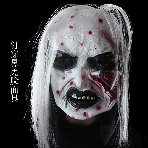 Halloween Ghost Festival Horror Grimassen Maske Weißes Haar Horror Maske Ganzer Mann Horror Ghost Face Kopfbedeckung Piercing Nasal