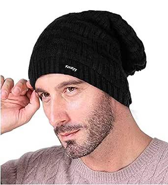 Knotyy Unisex Woolen Beanie Cap (Black,Free Size)