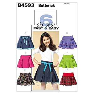 McCall's Patterns B4593Butterick Patterns 7–8-10–Filles Jupe, Lot de 1, Blanc