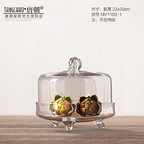 El té de la tarde romántica decoración de la mesa decoración decoración Cake placa de vidrio engrosada de postre plato de postre,(Diámetro 23 20cm)