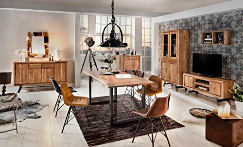 Esszimmer-Tisch mit Metall-Fuß aus Massiv-Holz 180x90 cm recht-eckig | Salito Ess-Tisch | Holz-Tisch mit Baum-Kante und Kufen-Gestell in schwarz | Rustikaler naturbelasser baumkante-tisch aus Akazie 180cm x 90cm - 8 Fuß Massivholz