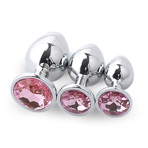 Binggong Sex Toys Sex Toys Anale pour Femme Hommes 3 Pcs Base en Forme De Coeur avec des Pierres De Naissance De Bijoux Butt-Anal-Play Rose Jewel Sex