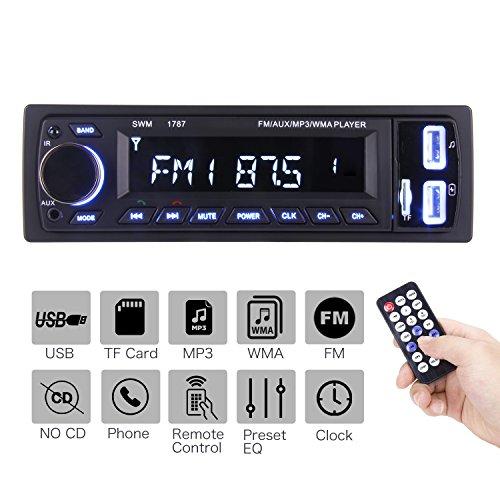 Autoradio Bluetooth,ieGeek Radio Coche, Apoyo de Reproductor MP3, Llamadas Manos Libres, Función de Radio, LCD de Audio Admite USB/SD/AUX/Bluetooth/FM Autoradio Bluetooth 1 DIN
