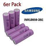 6x Samsung INR18650-35E - Akku - (3500mAh/3,7V) - Sub Ohm Werkzeug Dampfer E-Zigarette Flat Top