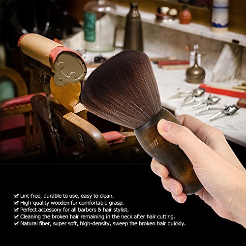 Anself Groß Friseur Nackenpinsel mit Holz Griff